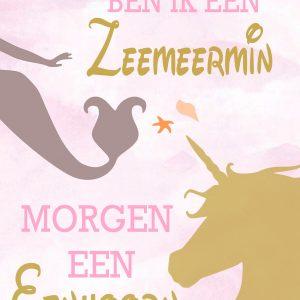 eenhoorn poster en zeemeermin